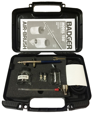 Badger 150-5PK Set with 3 heads etc wood effect box