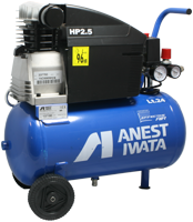 Anest-Iwata Effective Air 24 Litre Tank Compressor [SMALL CHUNK MISSING FROM PLASTIC MOTOR HOUSING]