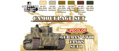 LifeColor German WWII Tanks Set 1 (22ml x 6)
