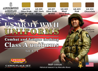 LifeColor USA WWII Army Uniforms Set 1 (22ml x 6)