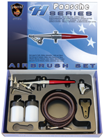 Paasche H-3AS Airbrush Set including all three heads, hose and bottles