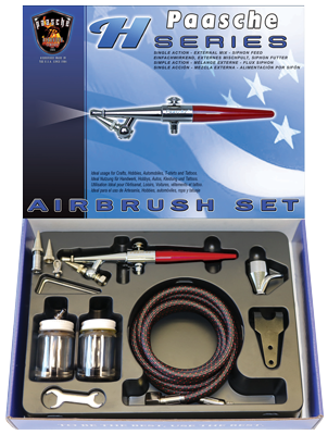 Paasche HS-3AS Airbrush Set including all three heads, hose and bottles