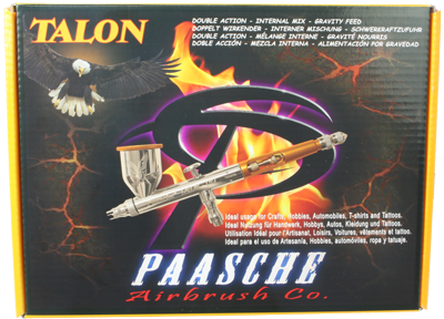 Double Action Internal Mix Gravity Feed Paasche Talon Airbrush Set TG-3F