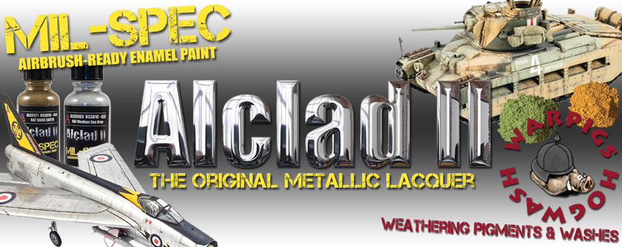 Alclad II Primers and Metallic Laquers, Mil-Spec Enamels, Warpigs Weathering Pigments & Hogwash