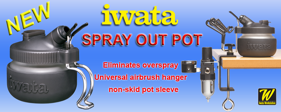 Iwata Spray Out Pot with non-slip sleeve.
