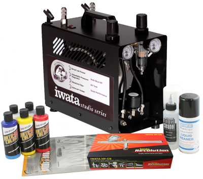 Iwata Custom Graphics airbrush kit with Power Jet Pro compressor
