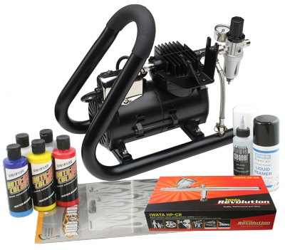 Iwata Custom Graphics airbrush kit with Smart Jet Plus Handle Tank compressor