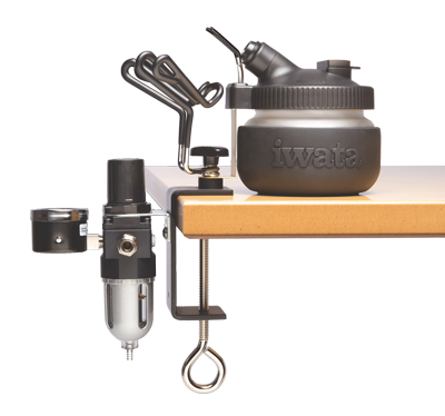 Iwata Universal Workstation (Spray Out Cleaning Pot and Universal Airbrush Hanger with air pressure regulator, moisture filter and bracket)