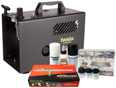 Iwata Modeller airbrush kit with Power Jet Lite compressor