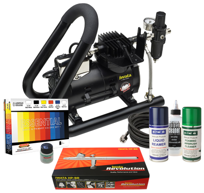 Iwata Modeller airbrush kit with Smart Jet Plus Handle Tank compressor