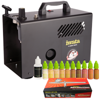 Airbase Make-up Kit with Iwata airbrush and Power Jet Lite compressor