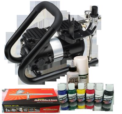 Iwata Airbrush Kit >> Iwata Textile Airbrush Kit With Power Jet Plus Handle Tank