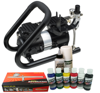 Iwata Textile Airbrush Kit with Power Jet Plus Handle Tank compressor