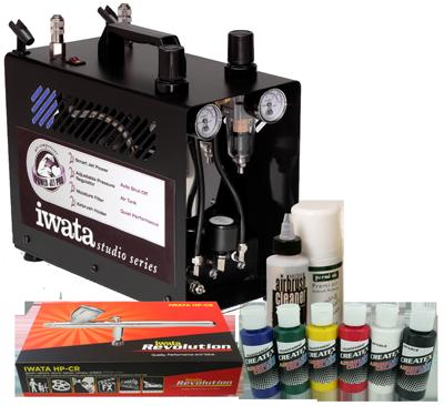 Iwata Airbrush Kit >> Iwata Textile Airbrush Kit With Power Jet Pro Compressor Airbrushes Com